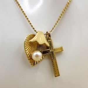 Jewelry - Cross with Faux Pearl on Leaf 24K GB